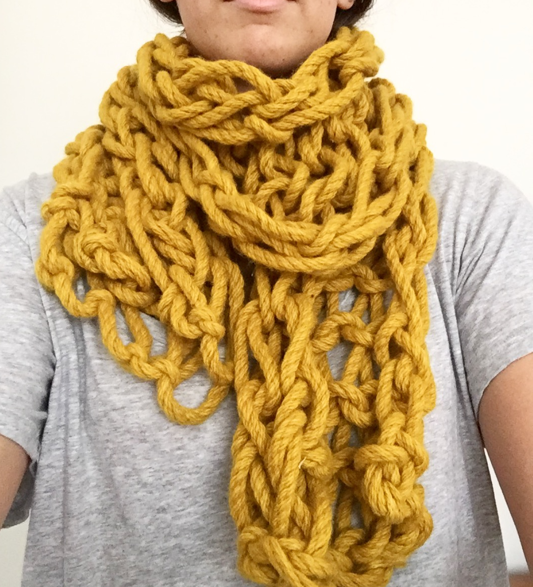 Learn How to Arm-Knit: Woolly Scarf