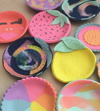 DIY Colourful Polymer Clay Bowls