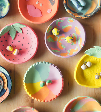 DIY Colourful Clay Dishes