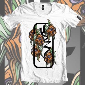 the first ud3 design-sam-shennan-tee-t-shirt-fish-orange