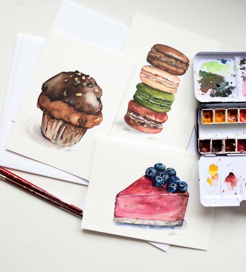 Delicious Watercolours- Desserts & Fruits