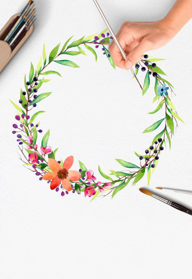 Watercolour & Wine! Christmas Wreath Edition