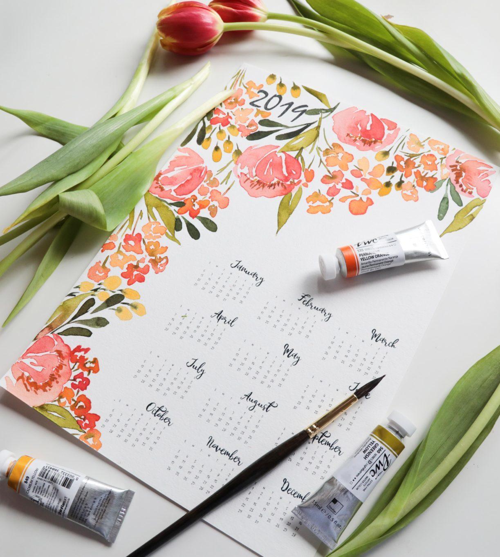 DIY 2019 Watercolour Calendar!